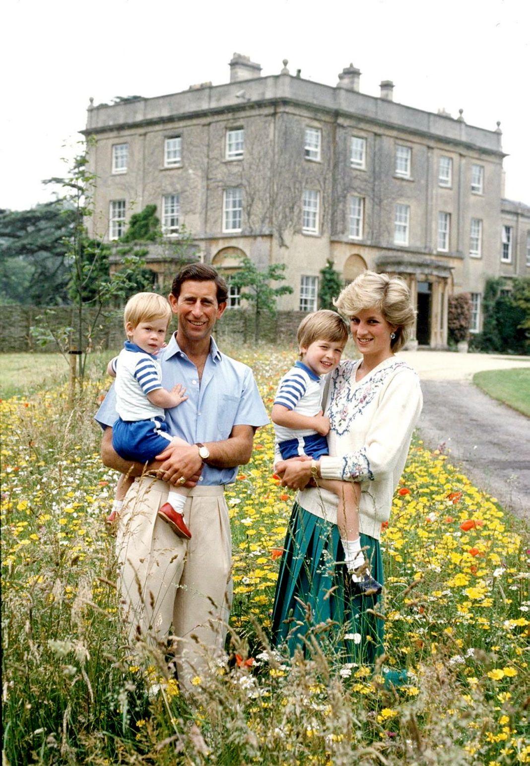 Принцесса Диана и принц Чарльз со своими сыновьями на лугу с дикими цветами