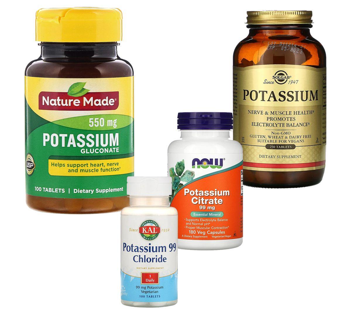 Витамины: Nature Made, калия глюконат; KAL, хлорид калия 99; Now Foods, калий цитрат; Solgar, калий